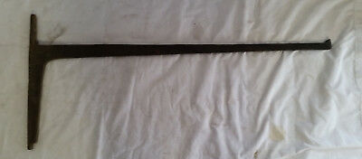 """Antique Fireplace Hearth Wrought/Forged Iron Crane,36"""" long,16"""" tall,7/16"""" stock"""