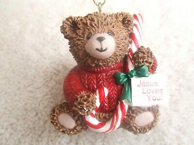 1997 Vintage Christmas Bear w/ Candy cane Jesus Loves You! Ornament ~ CUTE!