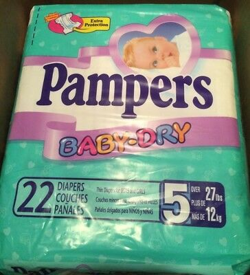 Sealed Package of 22 Vintage Pampers Baby Dry Size 5 Plastic Style diapers 1999