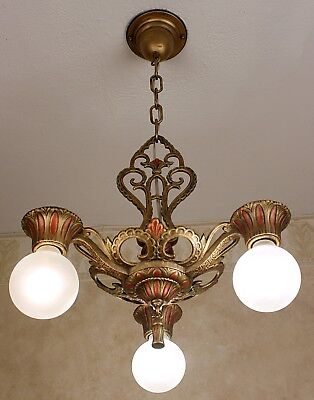 1920's ANTIQUE VINTAGE ART DECO Ceiling Light Fixture CHANDELIER