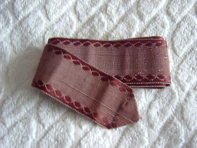 VINTAGE RIBBON FASHIONED INTO A BELT - DARK RED - 3.3cms WIDE - 86cms LONG