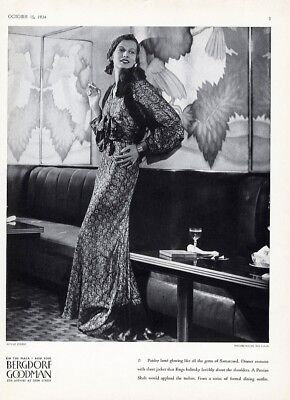 BERGDORF GOODMAN Fashion Ad Paisley Lame Evening Gown 1934 PERSIAN ROOM Plaza