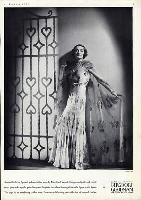 BERGDORF GOODMAN Fashion Ad 1936 GWILI ANDRE Actress in Chiffon Evening Gown