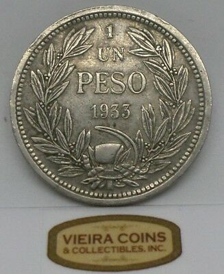 1933 Chile Un Peso, Free Shipping - #10355