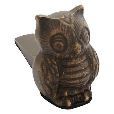 Signature Hardware Solid Brass Owl Doorstop with Cast Iron Wedge