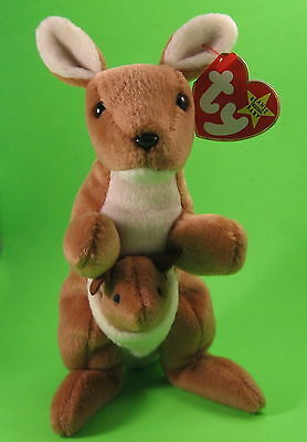TY Beanie Baby Pouch Kangaroo and Baby Joey MWMT Birthday November 11 6 1996