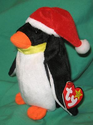 TY Beanie Baby Zero the Penguin in Holiday Santa Hat January 2 1998 MWMT #4207
