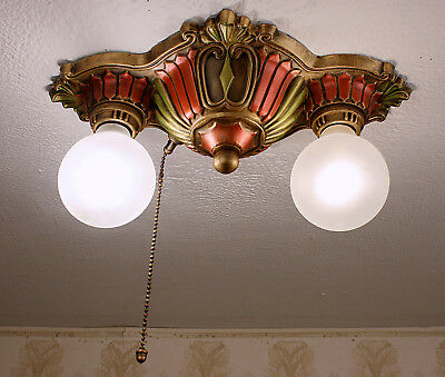 Antique Vintage 1920's  ART DECO Ceiling Light Fixture CHANDELIER