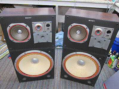 "Pr Sony SS-S890 Top Line Speakers, 18"" Woofers, Bullet Tweeters, Ex Sound, JAPAN"