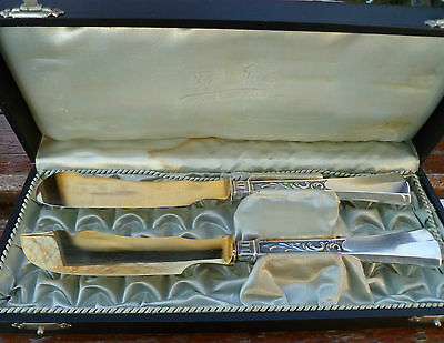 Antique Swiss 800 Silver Hard Soft Cheese Knife Set in Case Gold Washed Blades