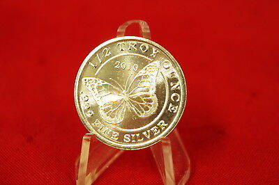 2010 Monarch Percious Metals 1/2 (HALF) oz .999 Fine Silver Butterfly Round #S32