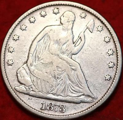 1873 No arrows Philadelphia Mint Silver Seated Liberty Half Dollar Free S/H