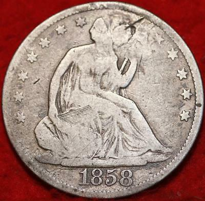 1858 Philadelphia Mint Silver Seated Liberty Half Dollar Free S/H