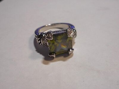 Vintage 5CT Peridot CZ Rhodium Plated Cocktail Ring Size 6 Unused Old Stock Mint