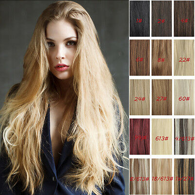 High Quality Full Head 100% Clip in Human Hair Extensions 14inch-30inch 16colour