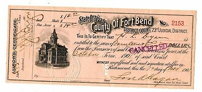 Fort Bend County Texas 1901 Juror's Certificate 3.95