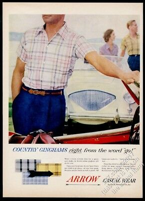 1955 Austin Healey 100 car color photo Arrow men's shirt vintage print ad