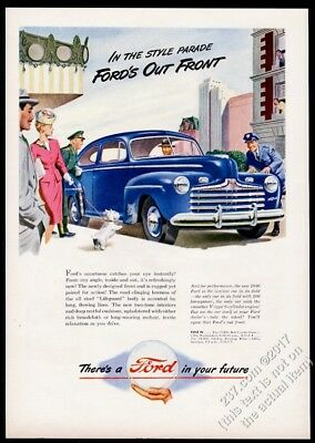 1946 Ford coupe blue car Westie dog art vintage print ad