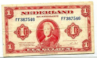 Netherlands 1 Gulden 1943 Vf Nr 3.50