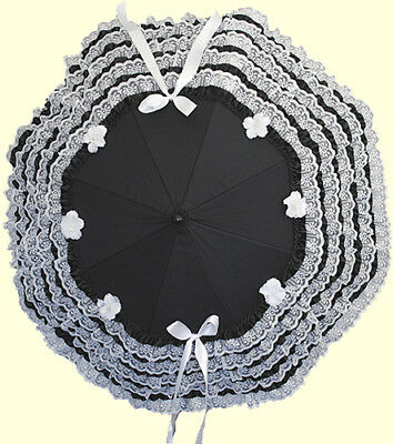Retroscope Fashions Black and White Satin Ruffle and Lace Parasol
