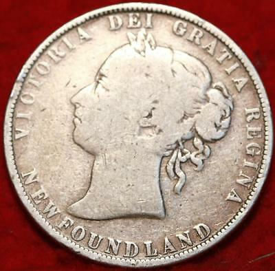 1900 Newfoundland 50 Cents Silver Foreign Coin Free S/H