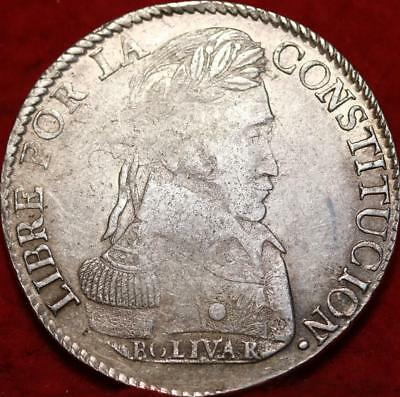 1840 Bolivia 8 Soles Silver Foreign Coin Free S/H