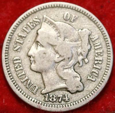 1874 Philadelphia Mint Nickel Three Cent Coin Free Shipping