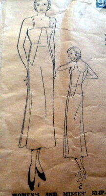 RARE VTG 1930s SLIP EXCELLA Sewing Pattern BUST 36