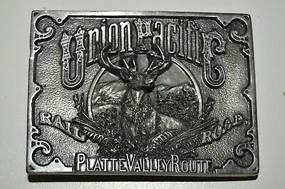 Vintage UNION PACIFIC Railroad Platte Valley Route DEER Pewter Belt Buckle Rare