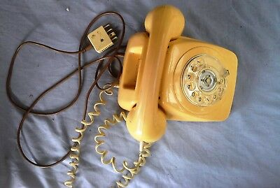 Vintage Yellow Telephone, Desk Table Phone, P.M.G 802 Not Tested,