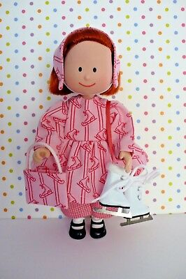 """ICE SKATING OUTFIT TOP PANTS w/ICE SKATE DESIGN FOR 8"""" MADELINE DOLL PURSE ++"""