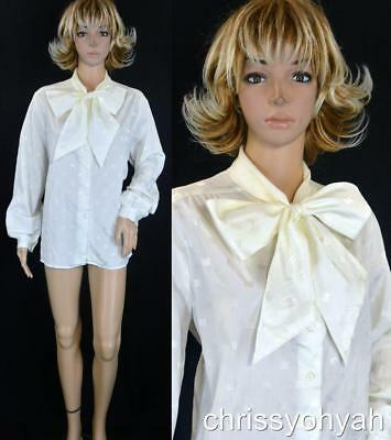 VTG 70s 80s Joanna Ivory Damask Sheer Tie Neck Pussy Bow Ascot Blouse Shirt Top