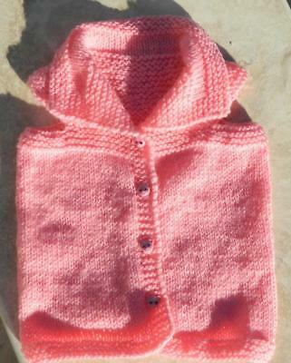 VINTAGE Hand Knitted Pink Baby Jacket with Adorable  Teddy Bear buttons