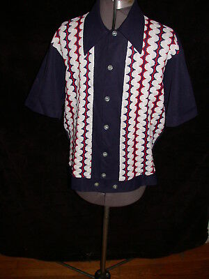 Vtg 60S Mens Medium Rockabilly Stripe Striped  Geometric Knit Dress Button Shirt
