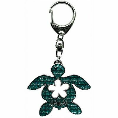 New Sea Turtle Hawaiian Metal Keychain Key Chain Ring Honu Green Sparkle