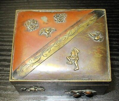 Rare Old Bronze & Copper Japanese Mixed Metal Trinket Snuff Jar Box