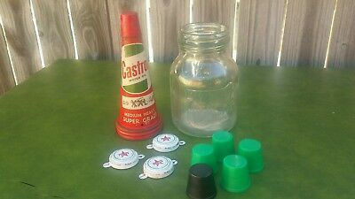 Vintage Castrol Wakefield 1  Pint Oil Bottle With Tin Top & Cap Plus Extras