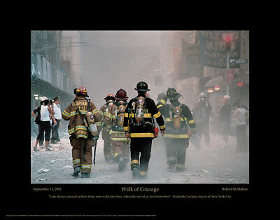 WALK OF COURAGE 9/11 FIREFIGHTER WORLD TRADE CENTER 22x28 POSTER PRINT GIFT