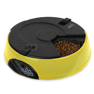 6 Meal / Day Yellow Automatic Pet Feeder Dish Cat Dog Bowl Holiday Auto Dispense