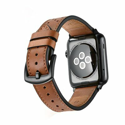For Apple Watch 42mm Black Leather Band Metal Clasp 32/48mm Band Strap Coffee