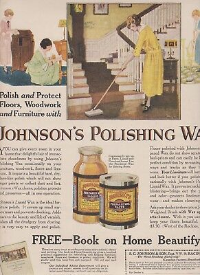 1922 2 Ads Johnson Wax-Embroidery-Back Ads Free Shipping In U.s