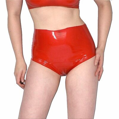 hoher LATEX SLIP/ Panty/ Hotpants* S-M * 38-40 in rot * rubber Latexslip ouvert