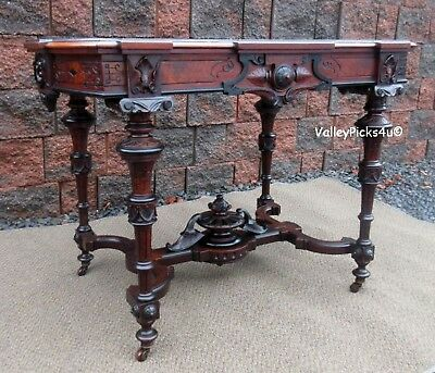Antique Herter Brothers Renaissance Revival Burled Walnut Library Center Table