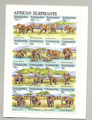 Tanzania #769, 1991 African Elephants 1v m/s of 16 imperf proof mounted