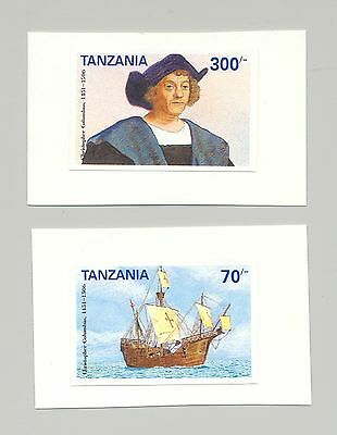 Tanzania #897-898 Columbus, Ships, 2v. imperf proofs mounted on cards