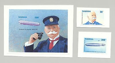 Tanzania #955, 961, 966 Zeppelins 2v & 1v s/s imperf proofs mounted