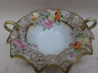 Vintage Hand Painted Porcelain Nippon Moriage Double Handle Candy Nut Dish Rose