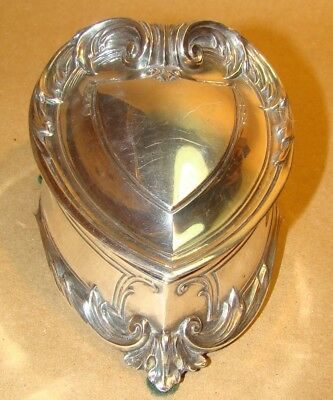 Vintage Classical Shield Or Crest Shaped Silverplate Jewelry Casket Box