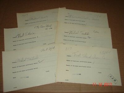 Six Vintage 1929, Year of Stock Market Crash, Stock Buy Order Form Receipts