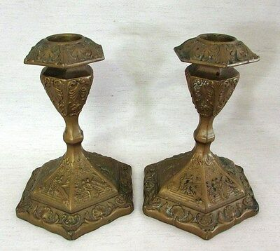 Antique L.V. Aronson Metal Candlesticks, AMW (Art Metal Works), 1923, Pair